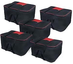 SNDIA Heavy Duty Clothes Organizer Nylon, Large Black and Red Storage Bag (SET OF 5)