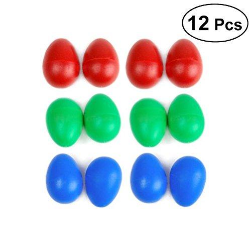 UEETEK 12St Percussion Musikalische Gemischte Farben Kunststoff Ei Maracas Egg Shaker