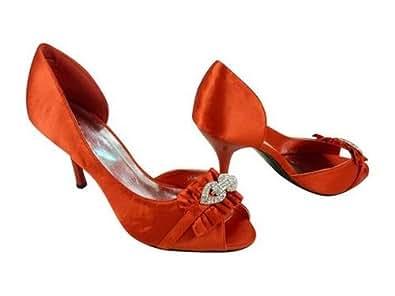 Chaussures de soirée, mariage ouvertes satin Rouge 36