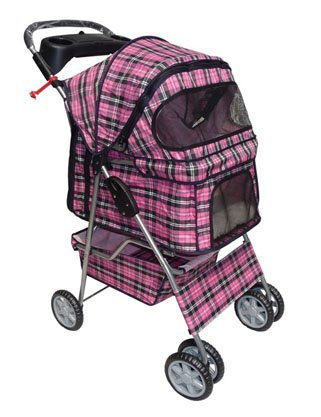 BestPet Pink Plaid 4Rollen Pet Hund Katze Buggy W/Regenschutz