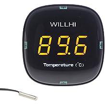 WINGONEER AC 110V–240V/-50°C ~ 110°C Digital Celsius termómetro interior medidor de temperatura con sensor Sonda impermeable para Reptil, mascota, Acuario, lado