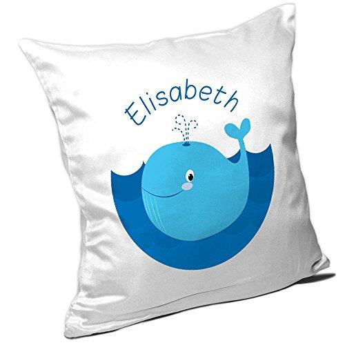 Elisabeth Fisch (Kissen mit Namen Elisabeth und Motiv mit Blauwal für Mädchen | Namenskissen personalisiert | Kuschelkissen | Schmusekissen)