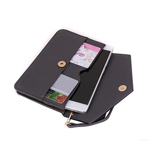 Conze da donna portafoglio tutto borsa con spallacci per Smart Phone per HTC Desire 510/610/612 Grigio grigio grigio