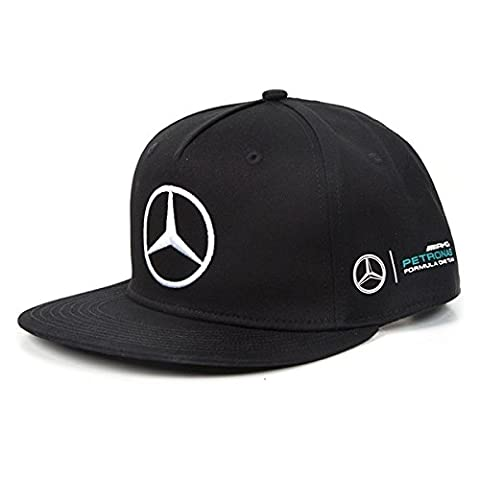 Mercedes AMG Petronas Men's MAMGP RP Hamilton Flat Brim Cap, Black, One Size
