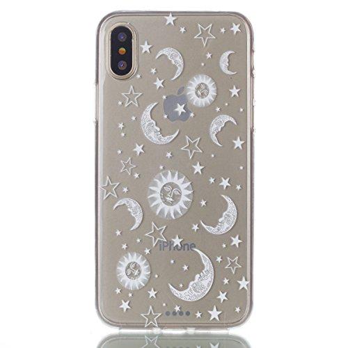 iPhone X Hülle, Voguecase Silikon Schutzhülle / Case / Cover / Hülle / TPU Gel Skin für Apple iPhone X(Einhorn und Blume) + Gratis Universal Eingabestift Cartoon-Planeten