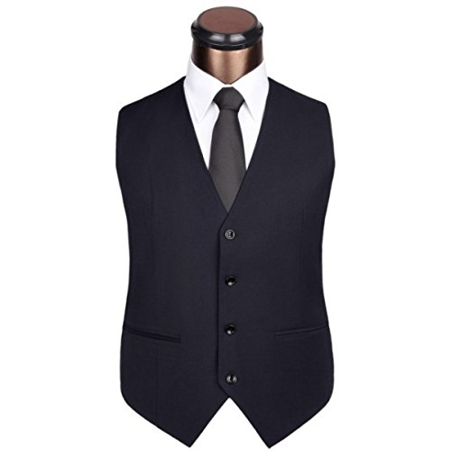 DPCER. Uomo Casuale Di Affari Vestito Della Maglia Con Scollo A V Vest Assortiti Blue