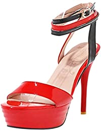 Amazon.es  zapatos rojos de tacon - RAZAMAZA CENTER   Sandalias de ... 95de5bd4e4dd
