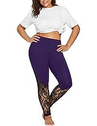 Zilosconcy Mujer Cintura Alta Moda Mujer Lace Plus Size Skinny Pants Yoga  Sport Pants Leggings de 92a8b3e532f0