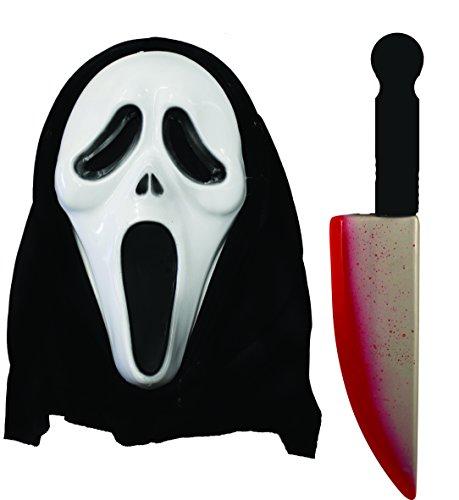 BLOODY MESSER SCREAMER DEATH-MASKE MIT KAPUTZE HALLOWEEN FASCHING SCREAM BLOOD GEBEIZT, MOTIV-ZOMBIE-DEATH-REQUISIT