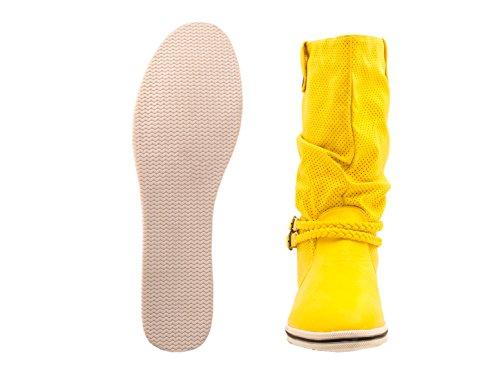 Flache Damen Schlupfstiefel bequeme Stiefel Boots Gelb