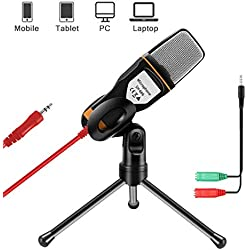 AOBETAK Microfono con Soporte para PC y iPhone, Profesional Micrófono Condensador de 3,5 mm Jack con Cable Divisor de 3,5 mm, para Loptop iPad Mac Singing YouTube Skype,PS4, Karaoke, Negro