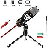 AOBETAK Kondensator Mikrofone mit Ständer für PC und Smartphone, 3,5mm Klinke Gaming Microphone mit 3,5 mm Kopfhörer Splitter, für Loptop iPad,Mac,handy,Aufnahme,Singen,Youtube,karaoke,Skype, Schwarz