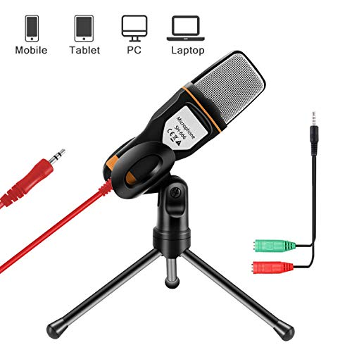 AOBETAK Microfonoper PC e Smartphone con Supporto, Professionale 3.5 mm Jack Microfono a Condensatore con 3.5 mm Stereo Jack Splitter, per Loptop iPad Mac Gaming Singing YouTube Skype, Studio, Nero