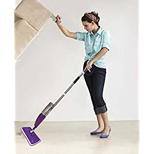 Diswa Microfiber Aluminium Floor Cleaning Healthy Spray Mop with Removable Washable Cleaning Pad and Integrated Water Spray Mechanism (Color May Vary)