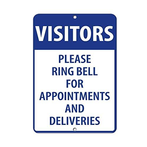 AdriK Metallschild Besucher, Bitte Ring Bell für Termine und Lieferungen, Aluminium Wandposter Hof, Zaun Deko, Geschenk (Zaun Bell)