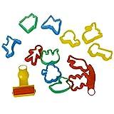 Rocita 14pcs / Set Animales Forma moldes para Pasteles de Colores de plastilina de la Galleta de la Herramienta de Corte Moldes con Varias Plantas Animales Formas para Familia