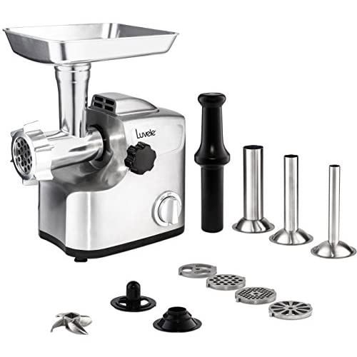 41MUIWY8OZL. SS500  - Luvele Ultimate Electric Meat Grinder Stainless Steel Sausage Maker 1800w (700w Rated) Copper Motor Kibbe Maker Aluminium Body
