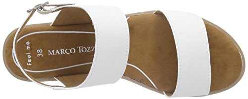 Marco Tozzi 28605, Sandales Bout Ouvert Femme Blanc (White 100)