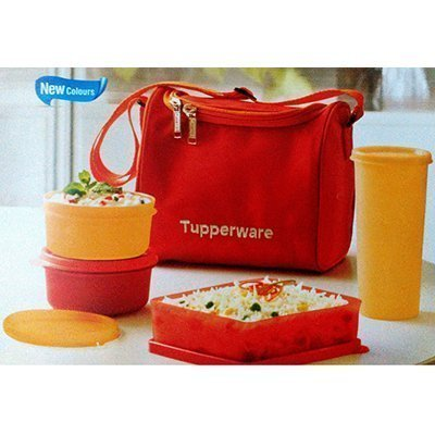 Tupperware Best Lunch Set with Bag 4-Pieces Multicolor By Amazin Homes  available at amazon for Rs.749