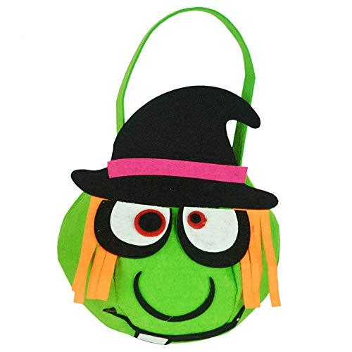liesstoff Kleinen Korb Fass Tragbare Süßigkeiten Kinder Party Kostüme (Grüne Hexe Muster) ()
