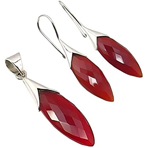 Unique gioielli set pendenti e orecchini calcedonio