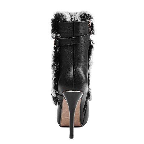 donne sottili tacchi alti stivali corti con fibbia in peluche con cerniera a caldo scarpe, BLACK-35 BLACK-38