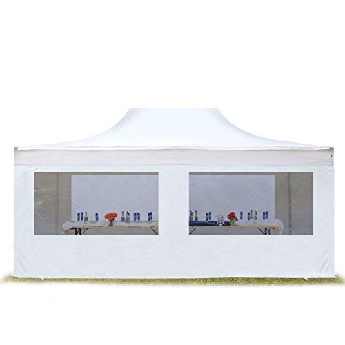 TOOLPORT ALU Pavillon Faltpavillon 4x6m mit Panoramafenstern robust und wasserdicht Professional Partyzelt weiß feuersicher