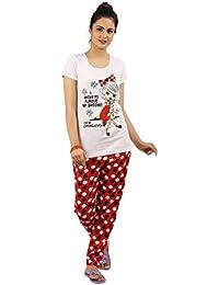 New Darling Womens White Top & Pyjama Set