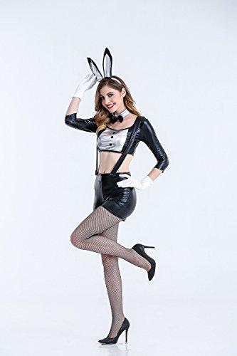 MY Schwarz Bunny Girl Bühnenkostüm Sexy Dünne Kaninchen Rolle Spielen Anzug Nachtclub Kleidung Cospaly Für Frauen (Size : L)