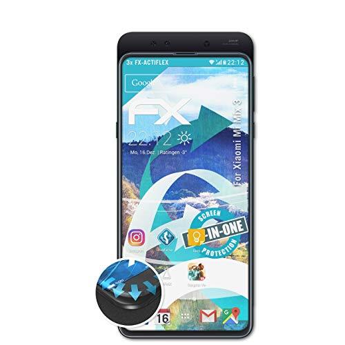 atFolix Schutzfolie passend für Xiaomi Mi Mix 3 Folie, ultraklare und Flexible FX Displayschutzfolie (3X)