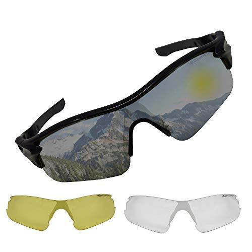 VeloChampion Polarized Cycling WARP MTB Hybrid UV400 Sonnenbrille schwarzer Rahmen Fahrradsport GOL