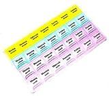 28 Fächer Pillendose Pillenbox Tablettenbox Medi Box Medikamenten Dosierer 7 Tage, Morgen, Mittag, Abend, Nacht