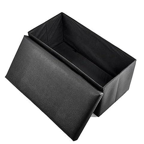 Foldable Storage Stool,Acelectronic 2 Seater Double Large Ottoman Foldaway Folding