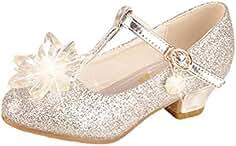 a25c9e87a295 Yy.f YYF Fille Chaussures Ballerines a Talon Princesse avec Belles Paillettes  Brillantes