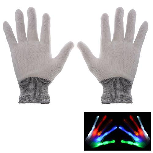 Xcellent Global 1 Par guantes de colores con luz LED parpadeante con resplandor, blanco SP032