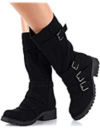 Minetom Bottes De Femme Bottines Daim Bloc Talons Plateforme Sexy Boots  Automne Hiver Mode Casual Chaussures 73f9905ee792