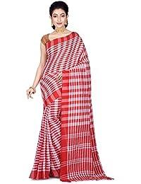 6160f4ea6cc1d BENGAL HANDLOOM Red   White Cotton Exclusive Saree