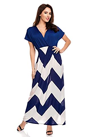Mia Suri Short Sleeve Zig Zag Striped Plus Size Maxi Dress For Women Blue UK 16/18