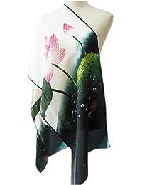 Prettystern P394 - 160cm peinture art en soie imprimé foulard - Art Asiatique - Chine Lotus