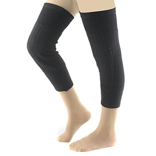 Fletion Unisex Atmungsaktive Elastische Cashmere Wool Kniewärmer Knie Brace Kniescheibe Beschützer im kalten Wetter (Schwarz)