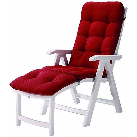 Best 96336104 silla de jardín - sillas de jardín (Salón, Grid, Asiento acolchado, 6 cm) Rojo, Color blanco