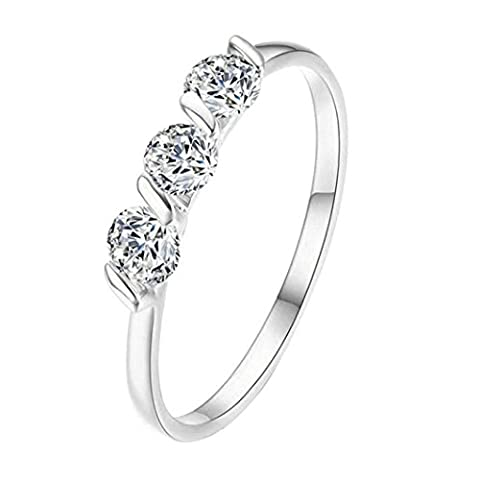 MMLC Eternity Love Wedding Bands Women's Rings Princess Austrian Crystals Engagement Rings Best Promise Rings Anniversary Wedding Rings Perfect Gift for Lady Girl (Silve