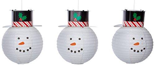 Snowman Paper Lanterns 24cm - Pack of 3