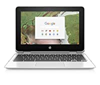 HP Chromebook x360 11-inch Convertible Laptop, Intel Celeron N3350, 4GB RAM, 32GB eMMC Storage, Chrome OS (11-AE040NR, White)