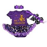 BabyPreg Bebés Mi Primera Disfraces de Halloween, Acción de Gracias Primera Vestido-3pcs del bebé (Bruja púrpura, L / 9-12 Meses)
