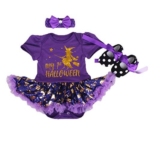 BabyPreg Baby Mädchen Mein 1. Halloween Kostüm, Babys 1. Erntedankfest 3 Stück (Lila Hexe, S / 3-6 Monate)