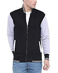 Campus Sutra Men Black Varsity Jacket(AW16_HVAR_M_PLN_BLGR_XL)