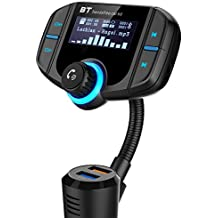 Adaptador de Coche GRDE V4.2 Manos Libres Bluetooth Transmisor FM Coche Función incorporada de A2DP con Dual USB QC3.0 USB y 2.4A, Adaptador de Radio Apoyo iphone, ipad, tablet, andriod, TF Tarjeta