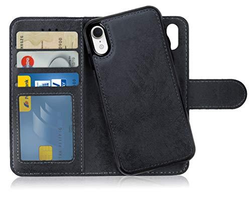 MyGadget Flip Case mit Back Cover [2 in 1] für Apple iPhone XR (NEU) Magnetische Hülle in PU Leder Klapphülle - Kartenfach Schutzhülle Wallet in Schwarz Apple Iphone Magnet Flip Case
