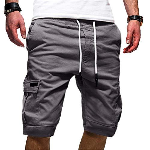Mymyguoe Einfarbig Kurze Hose Herren Sommer Fitness Trainingshose Knielänge Casual Cargo Jogger Shorts mit Taschen Sweatpants Jogginghose Biker Sweatshorts mit Kordelzug ()